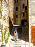 Judy on a street in Todi