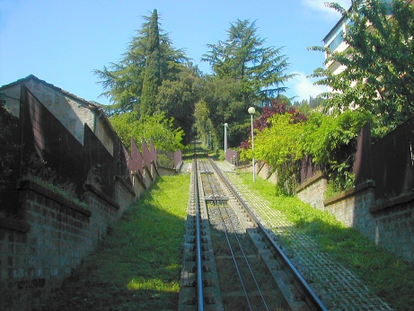 Tracks of funicular used to go to and from Orvieto. At the top, we took a bus to Orvietos city center.