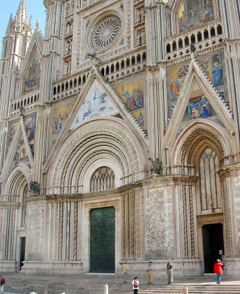 Duomo of Orvieto: Started in 1290 - took 300 years to build. Striking gothic facade with bas-reliefs and mosaics.