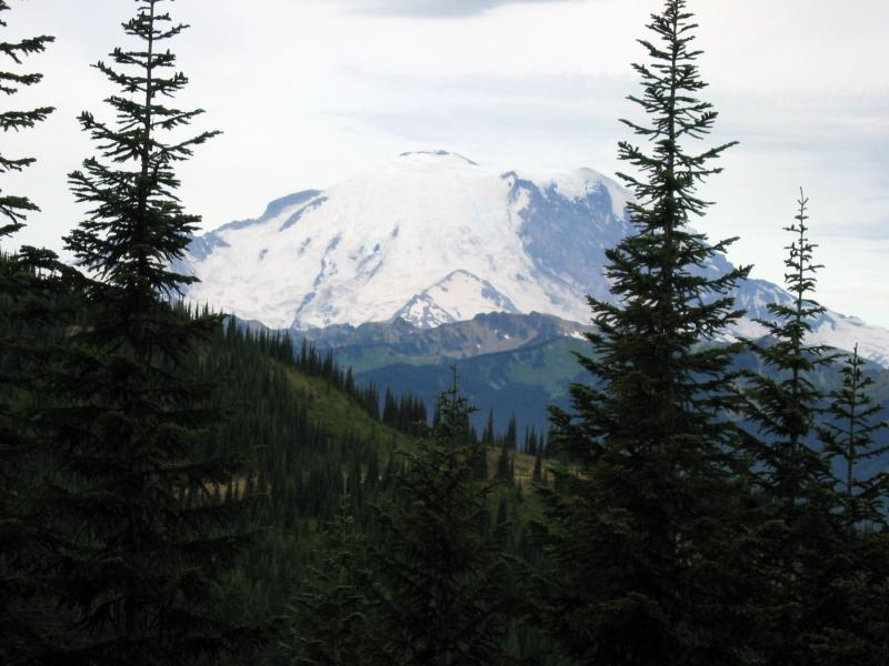 Mt Rainier from Corral Pass<br>Mile 17.2 -- Elevation 5,600 ft.</br>