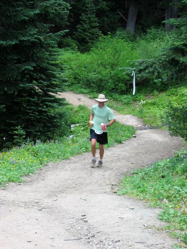 Early starter on his way to Corral Pass, Mile 17.2