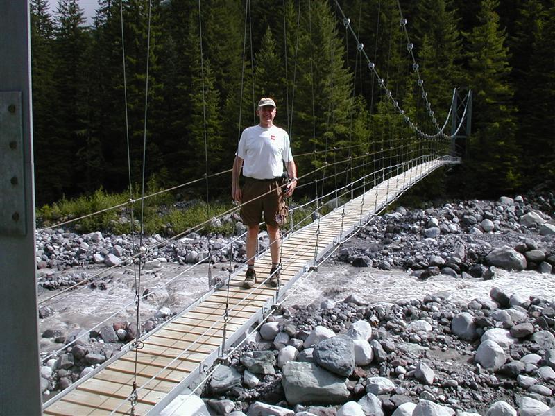 Ron on the Carbon Glacier bridge.