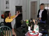 Maureen offers high-5 to Heather
