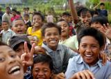 cheering children
