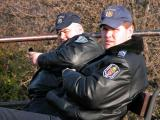 Two communications-age aware police officers at Gellért Hill