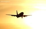 Southwest Airlines B737 sunset stock photo