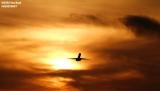 MD80 takeoff sunset aviation stock photo
