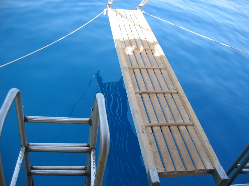 Gangplank and stairway for swimmers