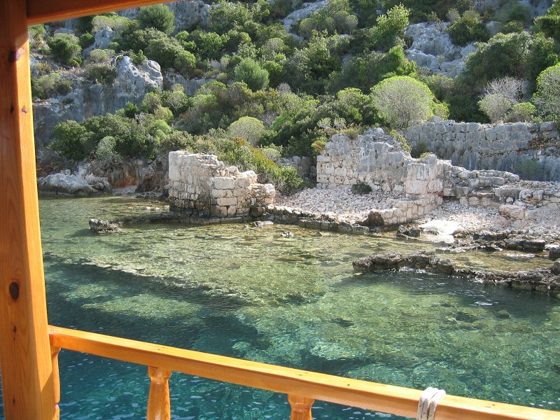 Under the green water, a portion of a sunken city of Kekova