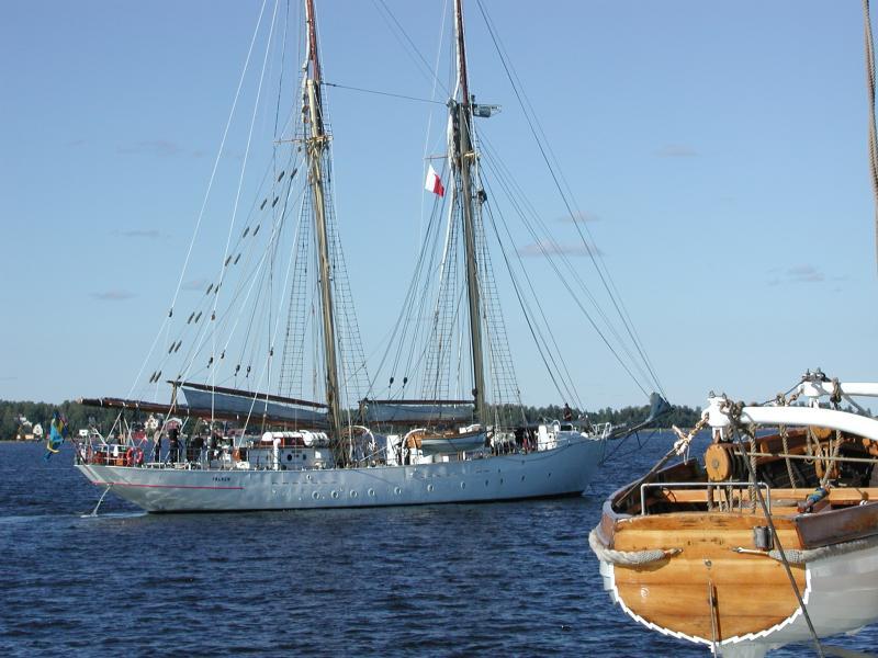 Swedish Navy trainingship Falken in anchorage in the Ruotsinsalmi 4.8.2002