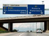 The N1 motorway from Johannesburg to Pretoria