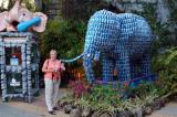 Mom and an elephant of Pepsi cans
