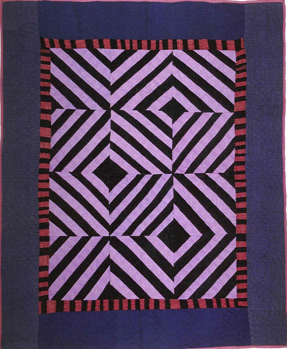 060:Roman Stripes crib quilt-Kansas     c.1910-20  37x45