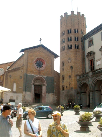 Sant Andrea Church on Piazza Republica. Unusual 12 sided bell tower. Built in 12th-14th c. over Roman and Etruscan structures.