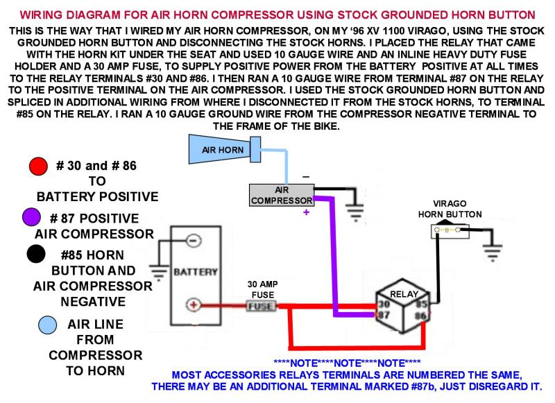 wiring diagram for air horns using stock grounded horn button photo rh pbase com Motorcycle Horn Diagram wiring diagram for push button horn
