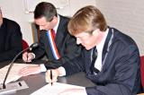 Ondertekening van de Jumelage-overeenkomst tussen de gemeenten Champigné en Warmond,  23 april 2005