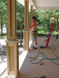 The front porch columns are paneled and ready for the railings