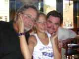 Sarah enjoys lunch at the Crab Shack with her dad and uncle Paul