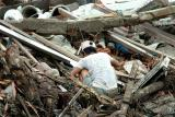 Asian Tsunami-Indonesian man looks through debris
