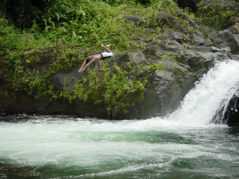 Lowell doing a Peter Pan off the Falls