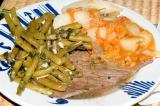 sandwich steak, greek potatoes, garlic mint beans