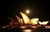 Sydney Moon rising above the Opera House