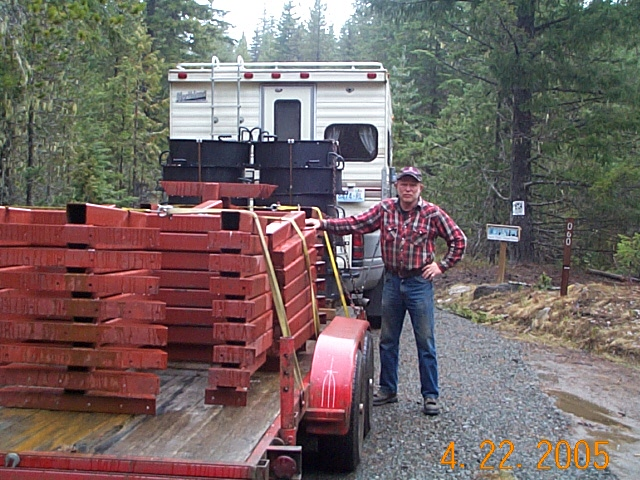 April 22, 2005 Don with a load of table and fire ring materials