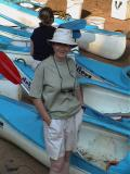 Jackie with canoes