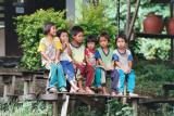 White Karen Children Sitting on a Bench, Chiang Mai Province