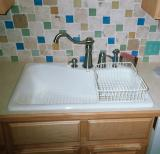 Eljer Gala sink, Pegasus faucet,stainless sponge holder, basket is for Kohler Executive Chef