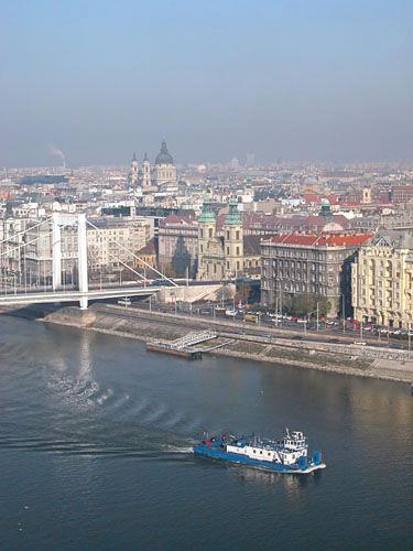 Danube and Peste, as seen from a Gellért Hill viewpoint
