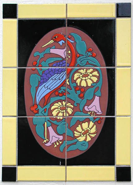bird and flower tile