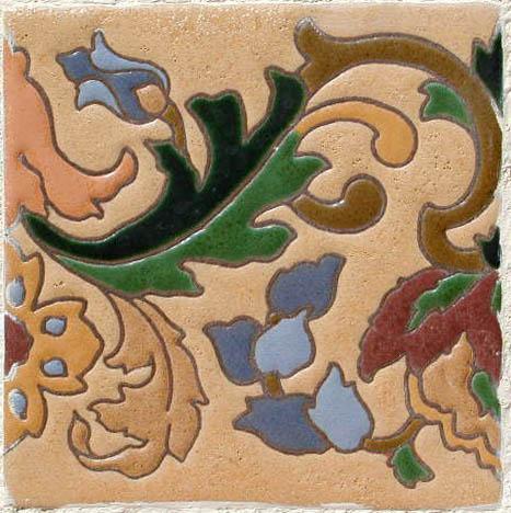 Leaves flowers tile