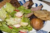 grilled lamb, fried mushrooms, roasted refried potatoes, salad