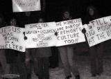 homeless protest at the lincoln park christmas lighting..