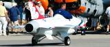 USAF motorized F-16 replica aviation air show stock photo