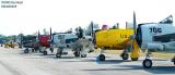 Lineup of restored warbirds aviation air show stock photo
