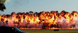 Pyrotechnics by Rod Gier, the Mad Bomber aviation air show stock photo