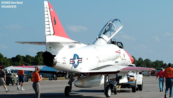 Restored McDonnell-Douglas USN TA-4J N128TA aviation air show stock photo