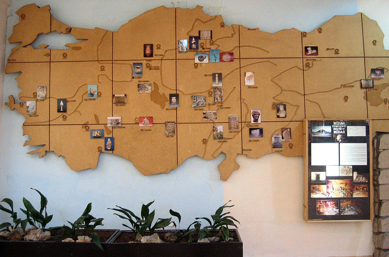 An illustrated map of Turkey on museum wall