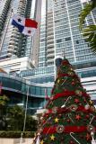 beautiful Christamas tree and Panama flag