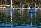 Reflections of boats in Pittwater