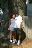 Charlotte and I in front of the tree in Edgartown, Martha's Vineyard.