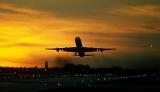 DC8 takeoff sunset aviation stock photo #SS0107