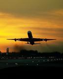 DC8 takeoff sunset aviation stock photo #SS0107p