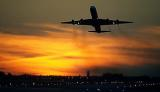 DC8 takeoff sunset aviation stock photo #SS0108
