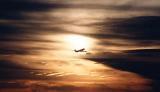DC8 takeoff sunset aviation stock photo #SS7702