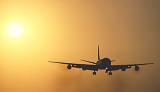 DC8 landing sunset aviation stock photo #SS9938