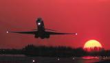 DC9/MD80 takeoff sunset aviation stock photo #SS9933L