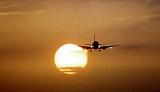 B737 landing sunset aviation stock photo #SS9709